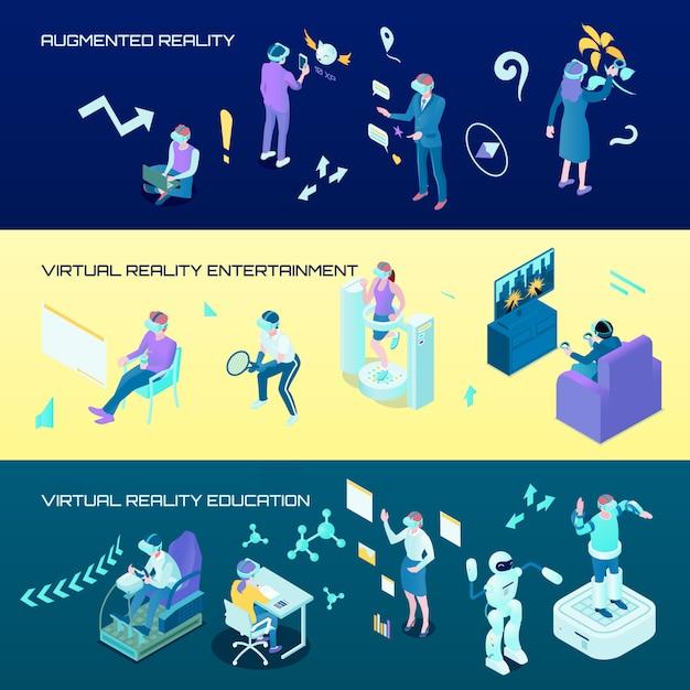 Banners horizontales isométricos de realidad virtual vector gratuito