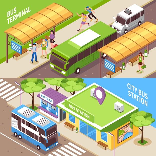 Banners horizontales isométricos de la terminal de autobuses vector gratuito