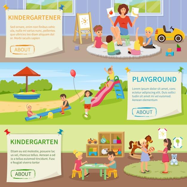 Banners horizontales de jardín de infantes vector gratuito