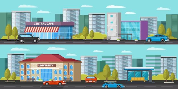Banners horizontales de paisaje urbano vector gratuito