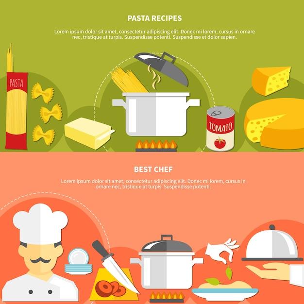 Banners horizontales planas de comida vector gratuito