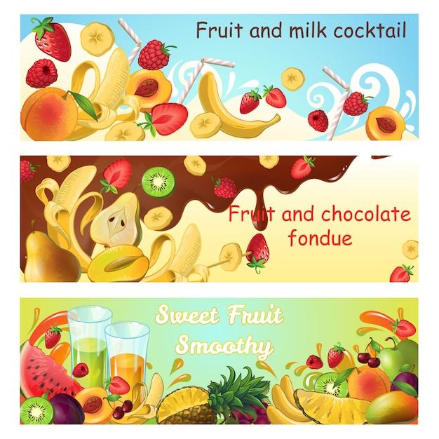 Banners horizontales de productos dulces naturales con frutas orgánicas frescas salpicaduras y flujos de leche y chocolate vector gratuito