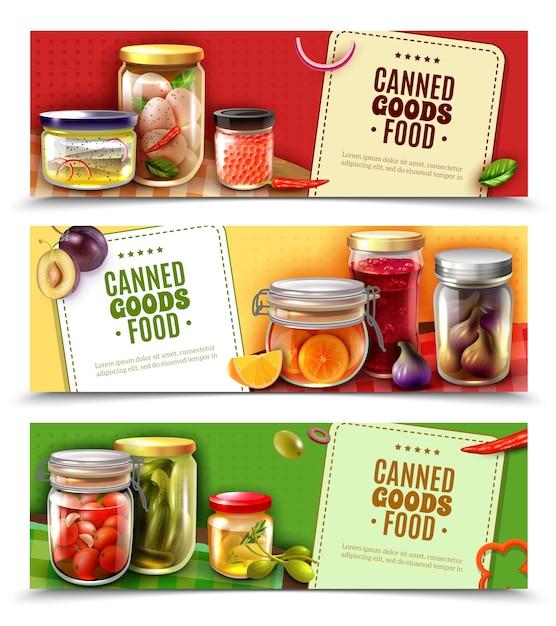 Banners horizontales de productos enlatados vector gratuito