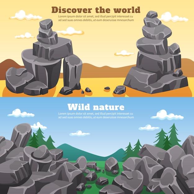Banners horizontales de rocas y piedras vector gratuito
