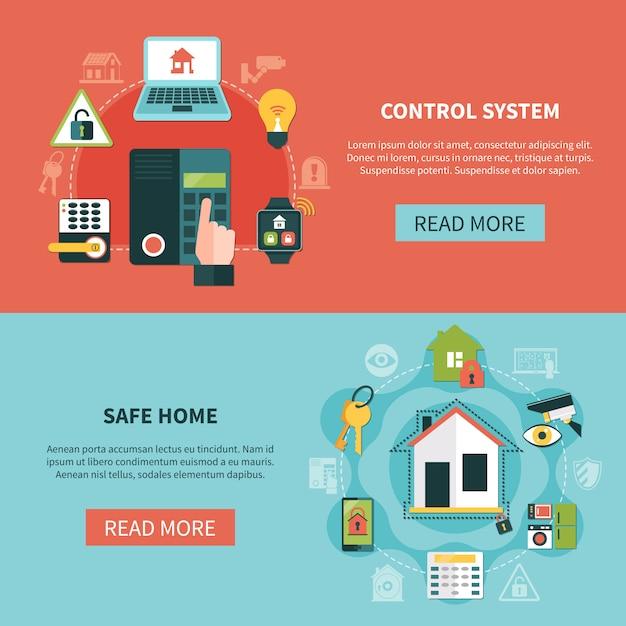 Banners horizontales seguros para el hogar vector gratuito