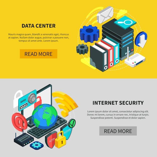 Banners horizontales de servicios en la nube vector gratuito