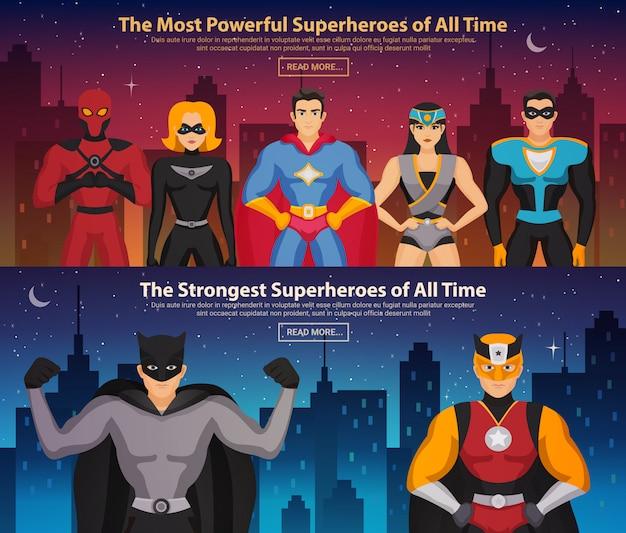 Banners horizontales de superhéroes vector gratuito