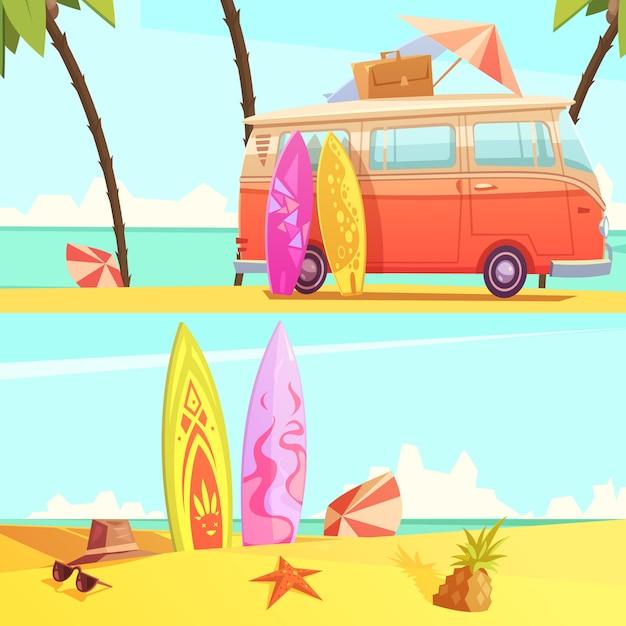 Banners horizontales de surf vector gratuito