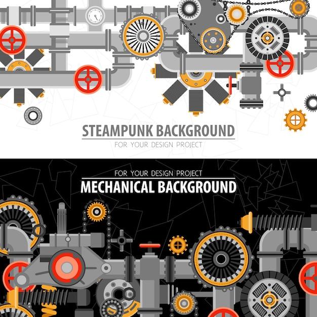 Banners horizontales tecnológicos abstractos vector gratuito