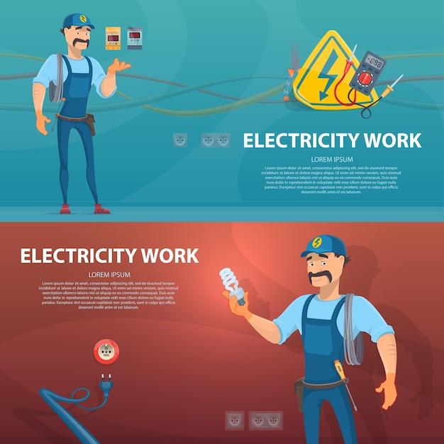Banners horizontales de trabajo de electricidad colorida vector gratuito