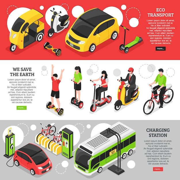 Banners horizontales de transporte ecológico con vehículos urbanos y personales y estación de carga para coches eléctricos isométricos vector gratuito