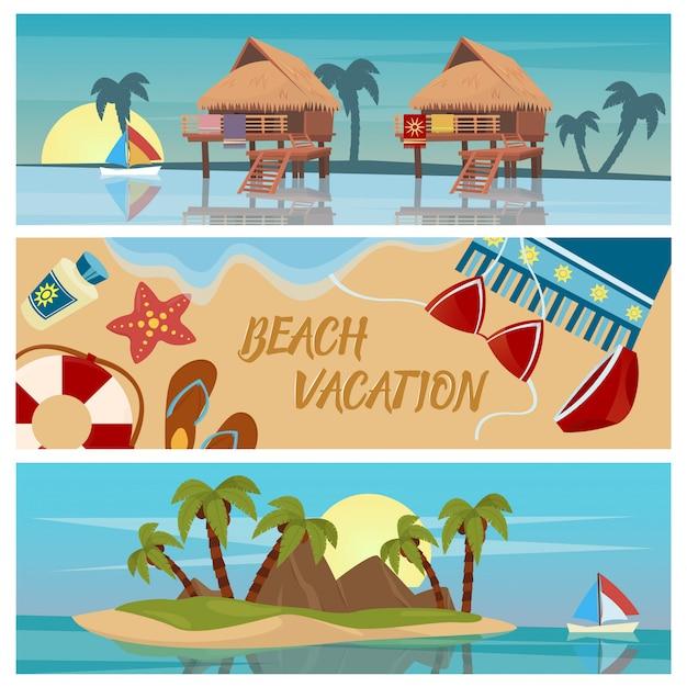 Banners horizontales de vacaciones en la playa Vector Premium