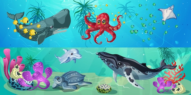 Banners horizontales de vida submarina de dibujos animados vector gratuito