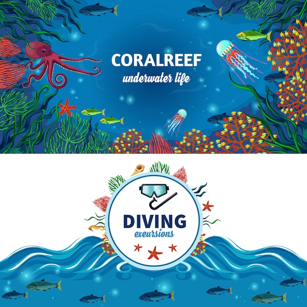 Banners horizontales de vida submarina de mar vector gratuito