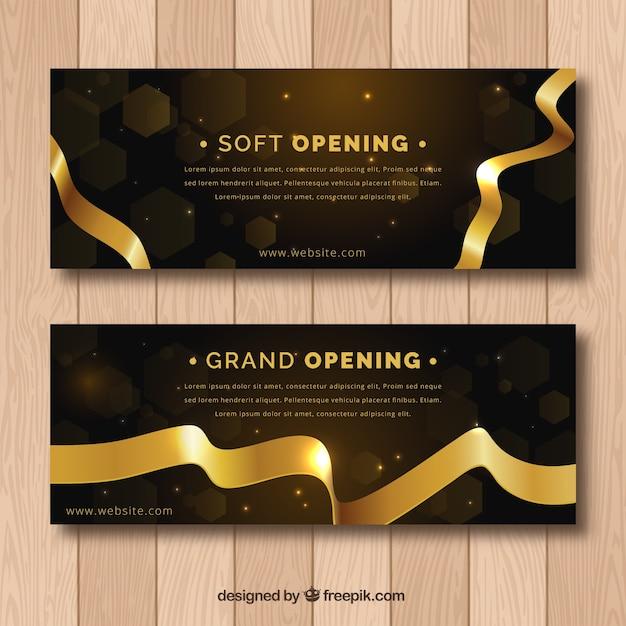 Banners de inauguración negros y dorados vector gratuito