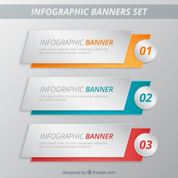 Banners infográficas plantillas paquete Vector Premium