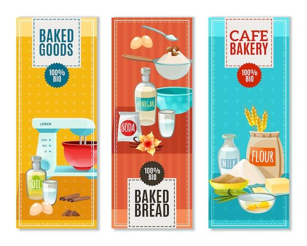 Banners de ingredientes para hornear vector gratuito