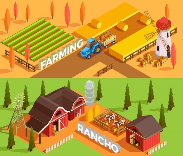 Banners isométricos de granja vector gratuito