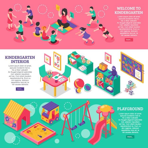 Banners isométricos de jardín de infantes vector gratuito