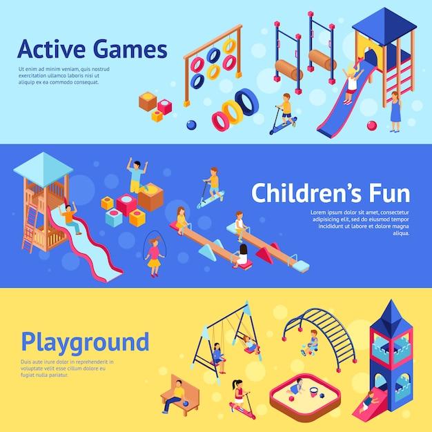 Banners isométricos de juegos infantiles vector gratuito