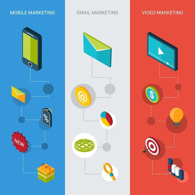 Banners isométricos de marketing vector gratuito