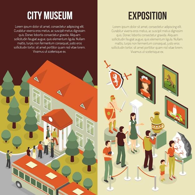 Banners isométricos del museo de bellas artes vector gratuito