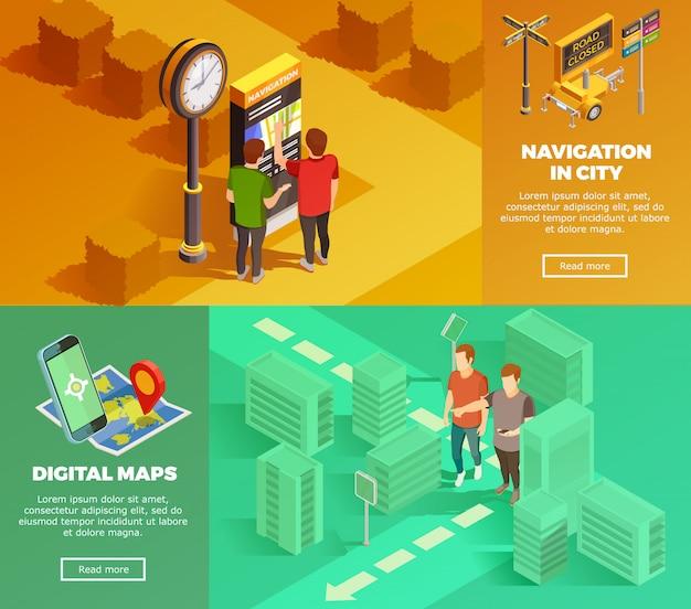Banners isométricos de navegación de la ciudad vector gratuito