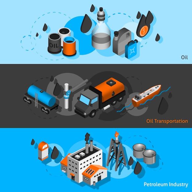 Banners isométricos de petróleo vector gratuito