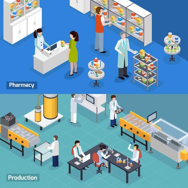 Banners isométricos de producción farmacéutica vector gratuito