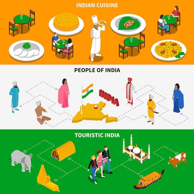 Banners isométricos turísticos de la cultura india vector gratuito