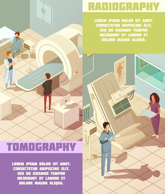 Banners isométricos verticales de hospital con tomografía. vector gratuito
