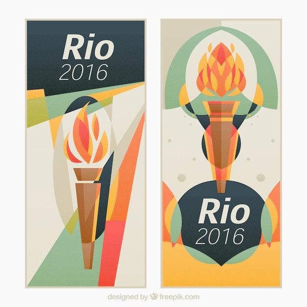 Banners de juegos olímpicos con antorcha en estilo abstracto Vector Premium