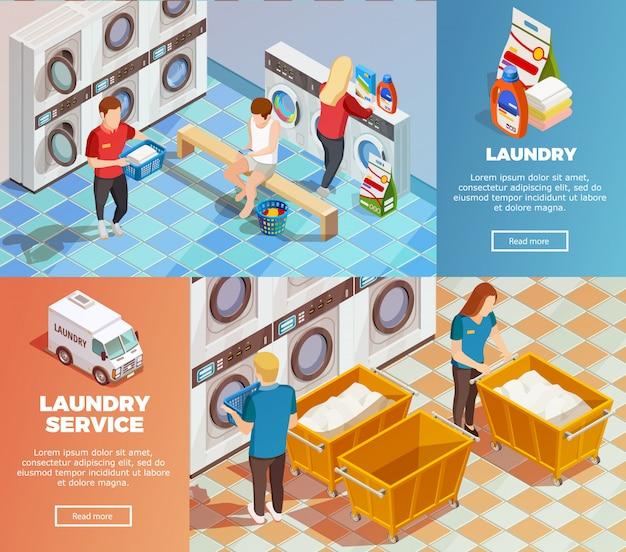 Banners de limpieza en seco isométrico de lavandería vector gratuito