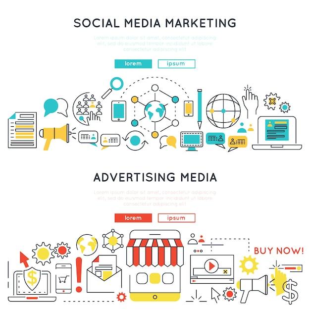 Banners lineales horizontales de marketing digital vector gratuito