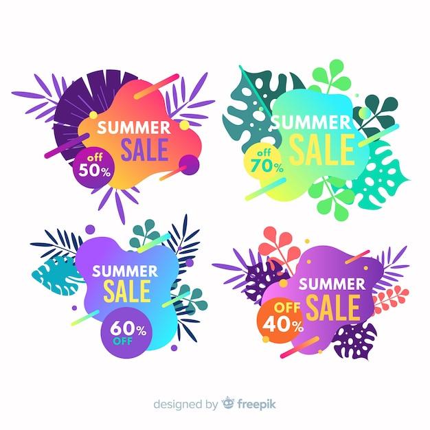 Banners líquido de rebajas de verano vector gratuito