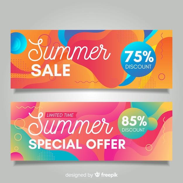 Banners líquidos de rebajas de verano vector gratuito