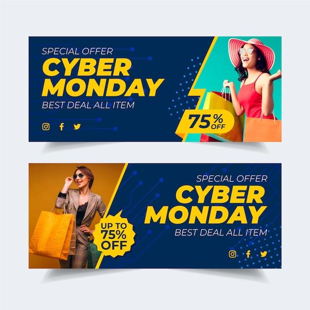 Banners de lunes cibernético de diseño plano con foto vector gratuito