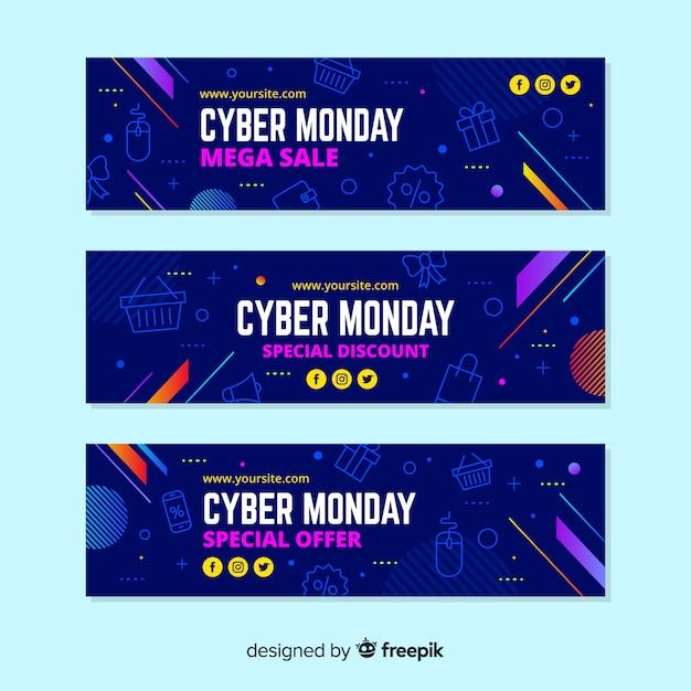 Banners de lunes cibernético en diseño plano vector gratuito