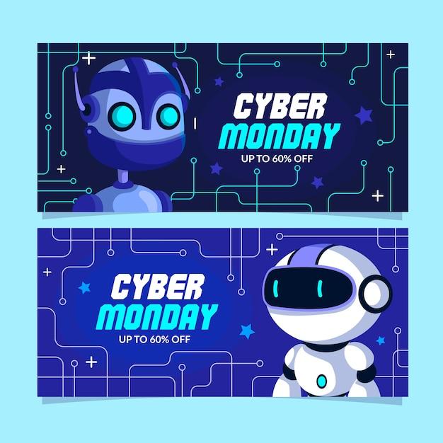 Banners de lunes cibernético de diseño plano vector gratuito