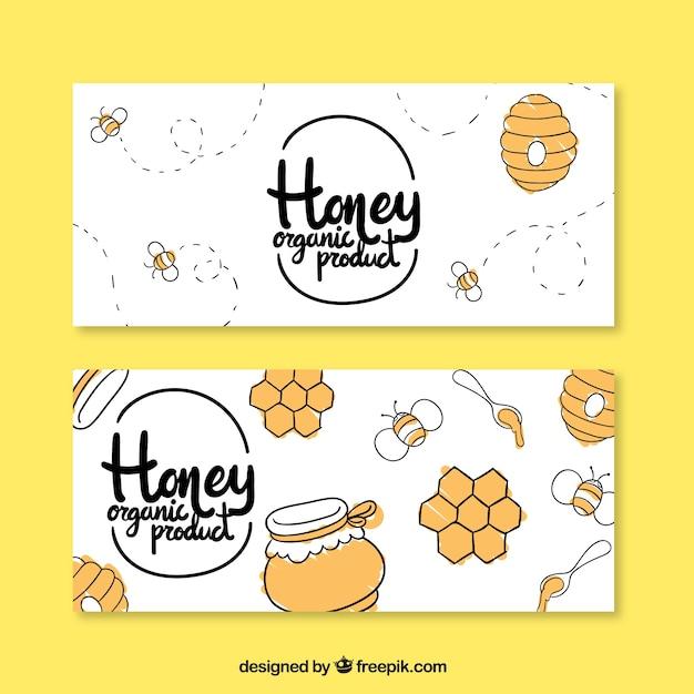Banners de miel dibujados a mano vector gratuito