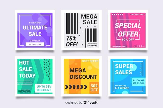 Banners modernos de rebajas para redes sociales vector gratuito