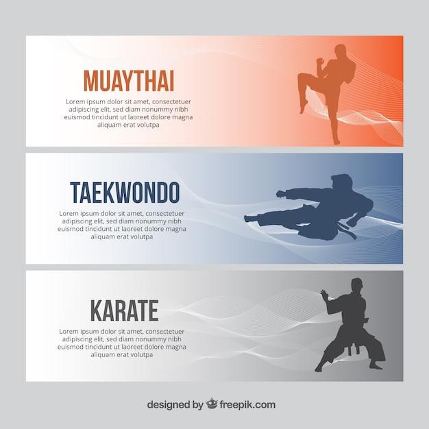 Banners modernos con siluetas de personajes de deporte vector gratuito