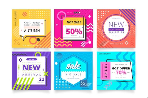 Banners modernos de venta vector gratuito
