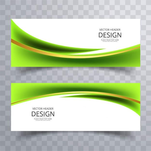 Banners modernos verdes ondulados vector gratuito