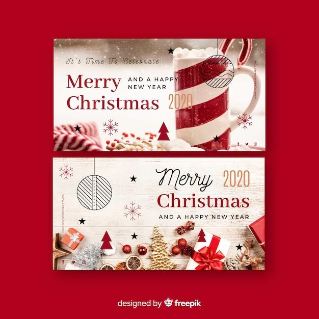 Banners de navidad con foto vector gratuito