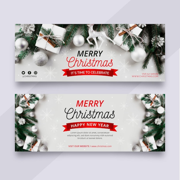 Banners navideños con foto Vector Premium