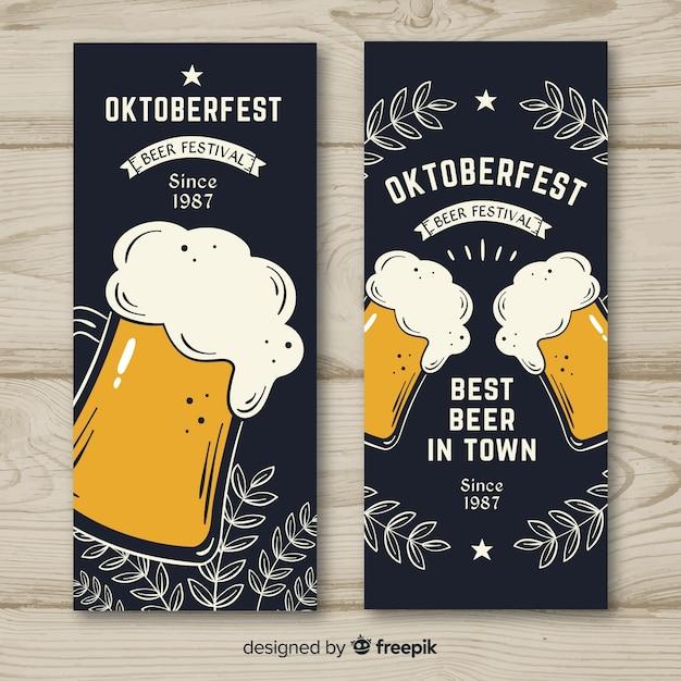 Banners de oktoberfest dibujados a mano vector gratuito