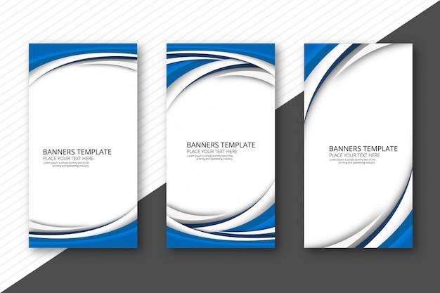 Banners de onda creativos abstractos set vector plantilla vector gratuito