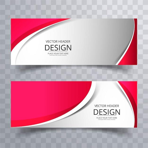 Banners ondulados rojos vector gratuito