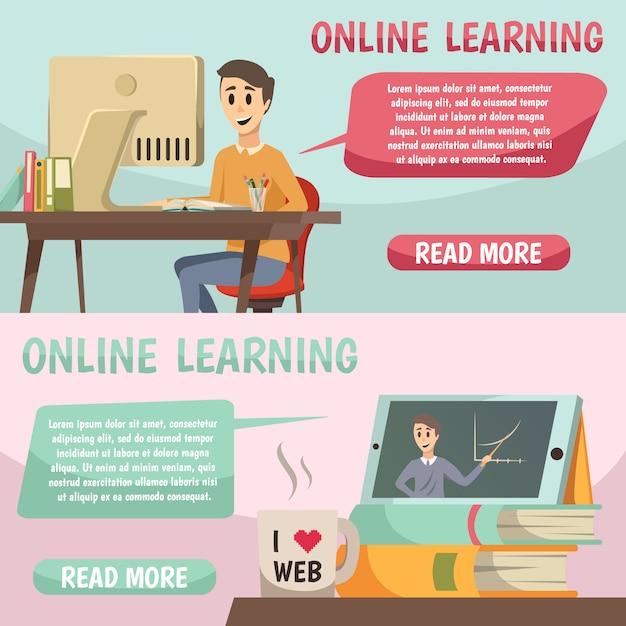 Banners ortogonales de educación en línea vector gratuito